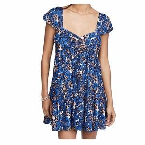 Free People Pattern Play Mini Dress Blue Size M